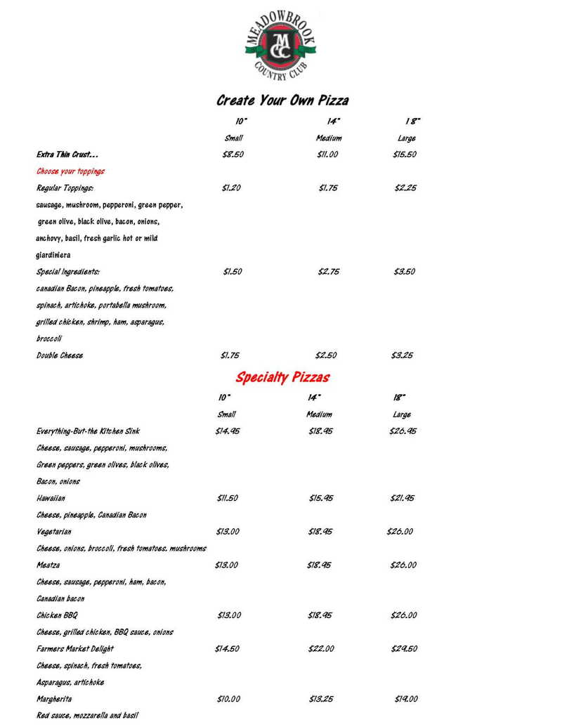 Pizza Menu for Meadowbrook Country Club