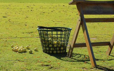A bucket of balls at the range at Meadowbrook Country Club
